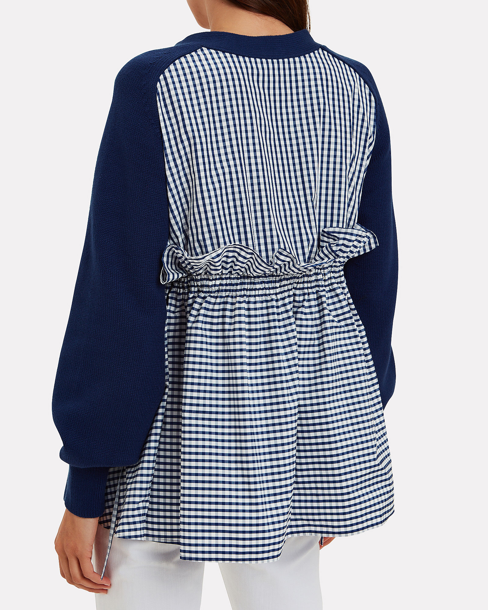 Ruched Parachute Cardigan, NAVY/GINGHAM, hi-res