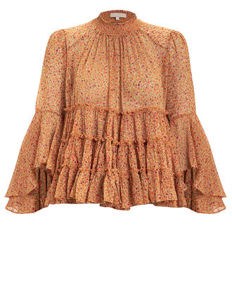 Bell Sleeve Swing Blouse, ORANGE/FLORAL, hi-res