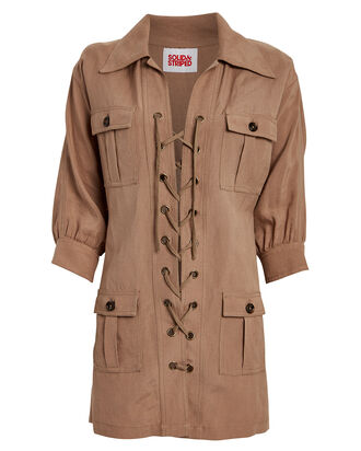Linen-Blend Lace-Up Safari Dress, KHAKI, hi-res