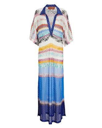 Knit Chevron Polo Maxi Dress, BLUE/RAINBOW, hi-res