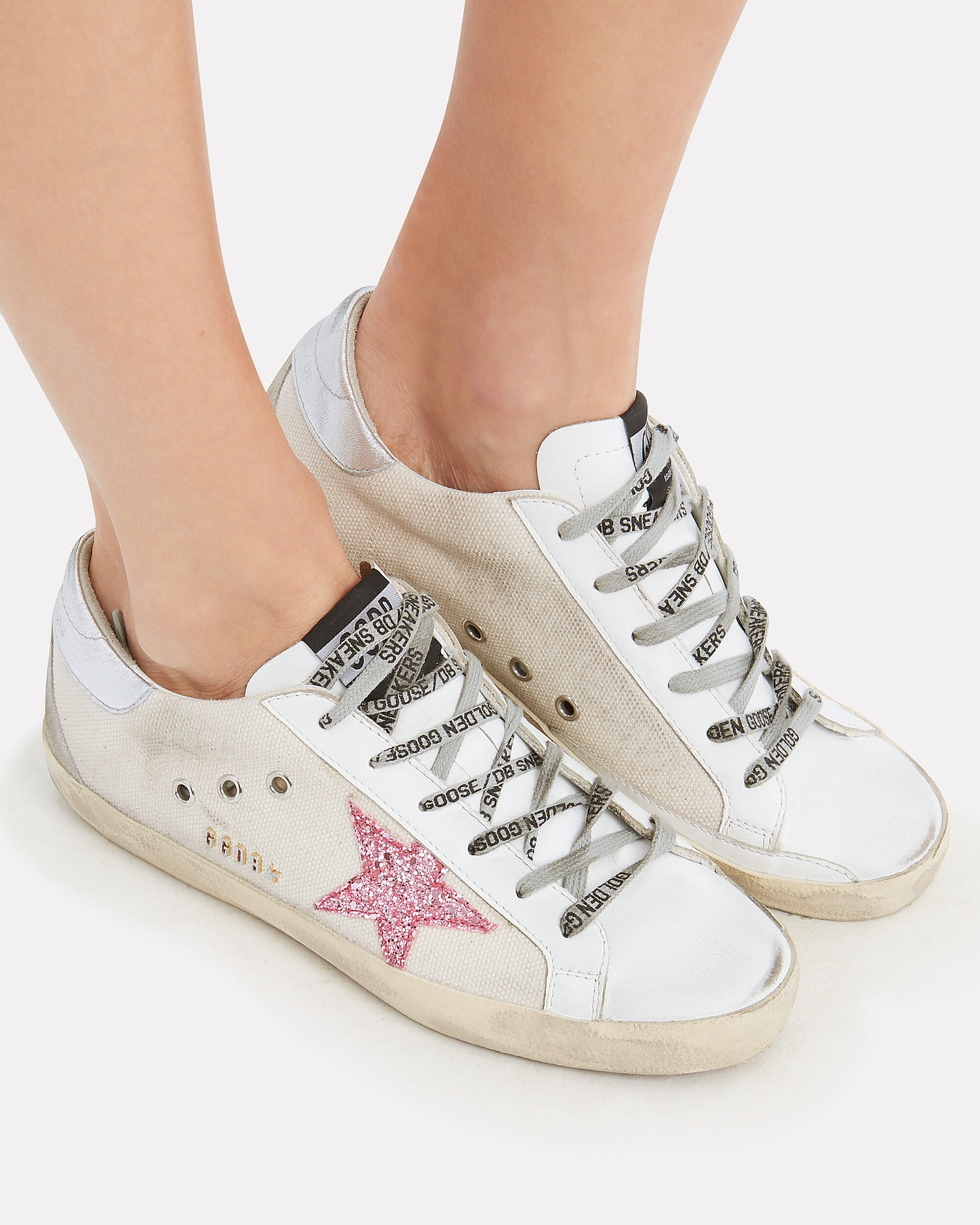 Superstar Pink Glitter Star Canvas Low-Top Sneakers, WHITE/SILVER/PINK GLITTER, hi-res