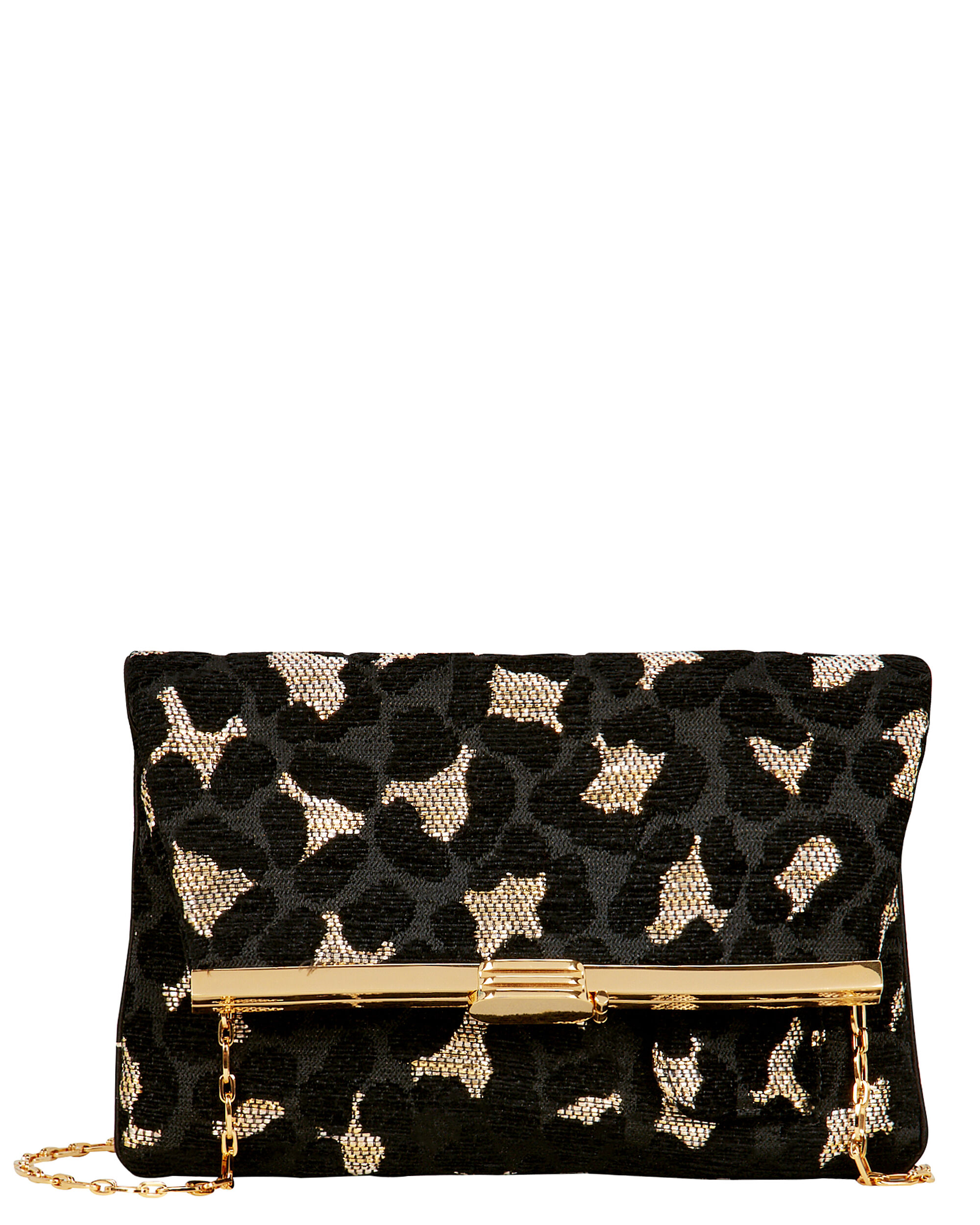 Leopard Chenille Fold-Over Clutch, MULTI, hi-res