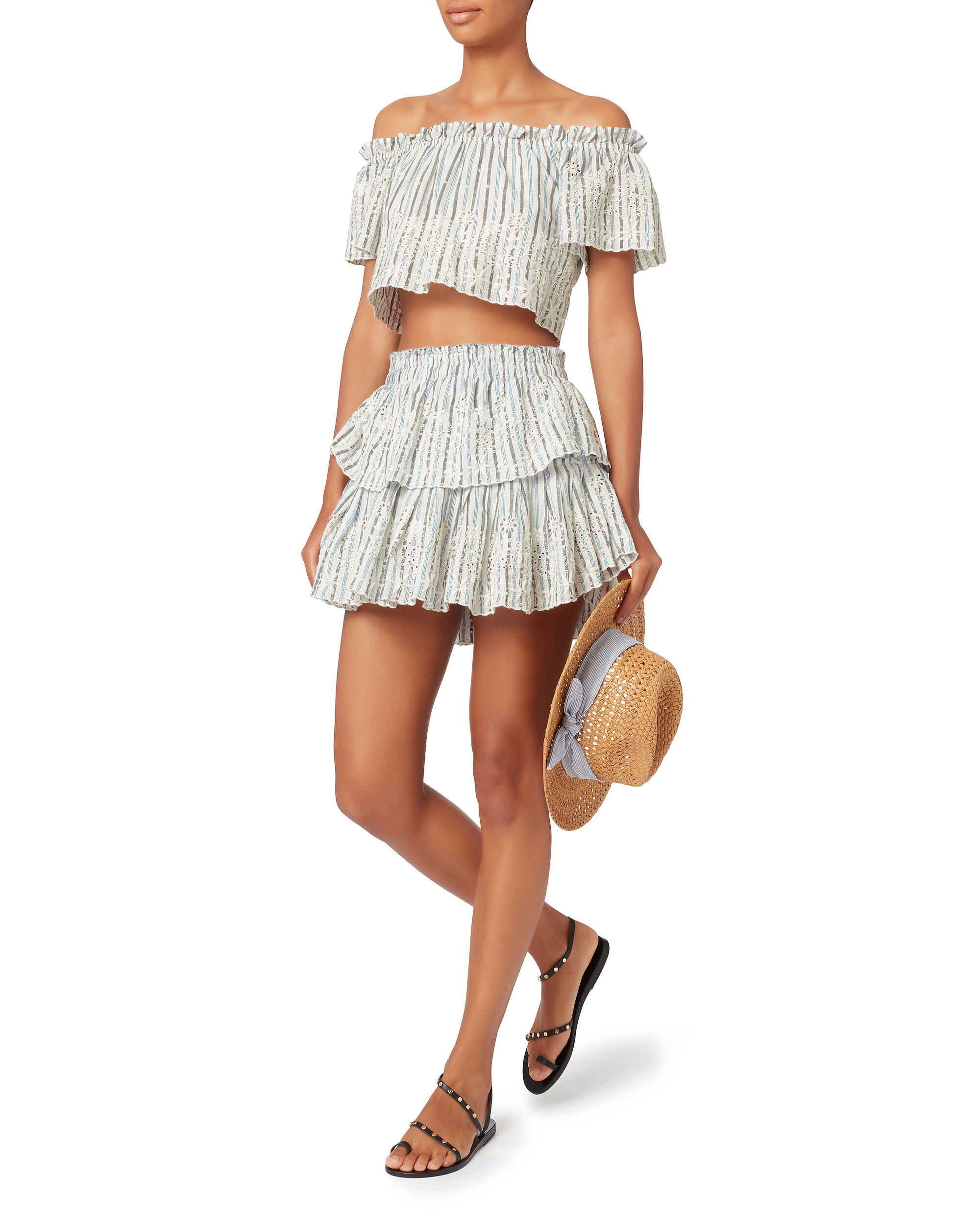 Off Shoulder Embroidered Crop Top, STRIPE, hi-res
