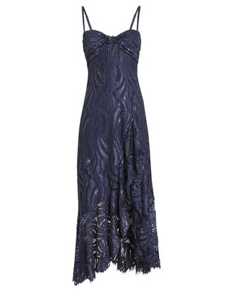 Metallic Lace Twist Top Dress, NAVY, hi-res