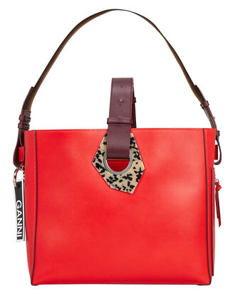 Red Leather Square Shoulder Bag, RED LEATHER, hi-res