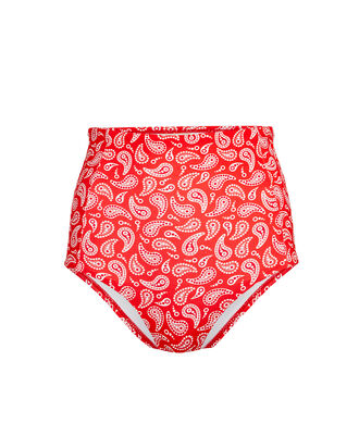 Banes High-Waist Bikini Bottoms, RED PAISLEY, hi-res