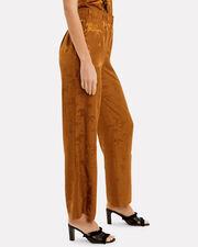 Silk Jacquard Pants, DARK GOLD, hi-res
