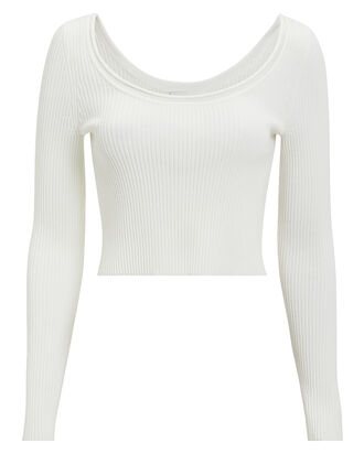 White Ribbed Crop Top, WHITE, hi-res