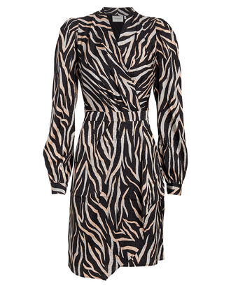FeiGZ Satin Jacquard Mini Dress, ROSE/ZEBRA PRINT, hi-res