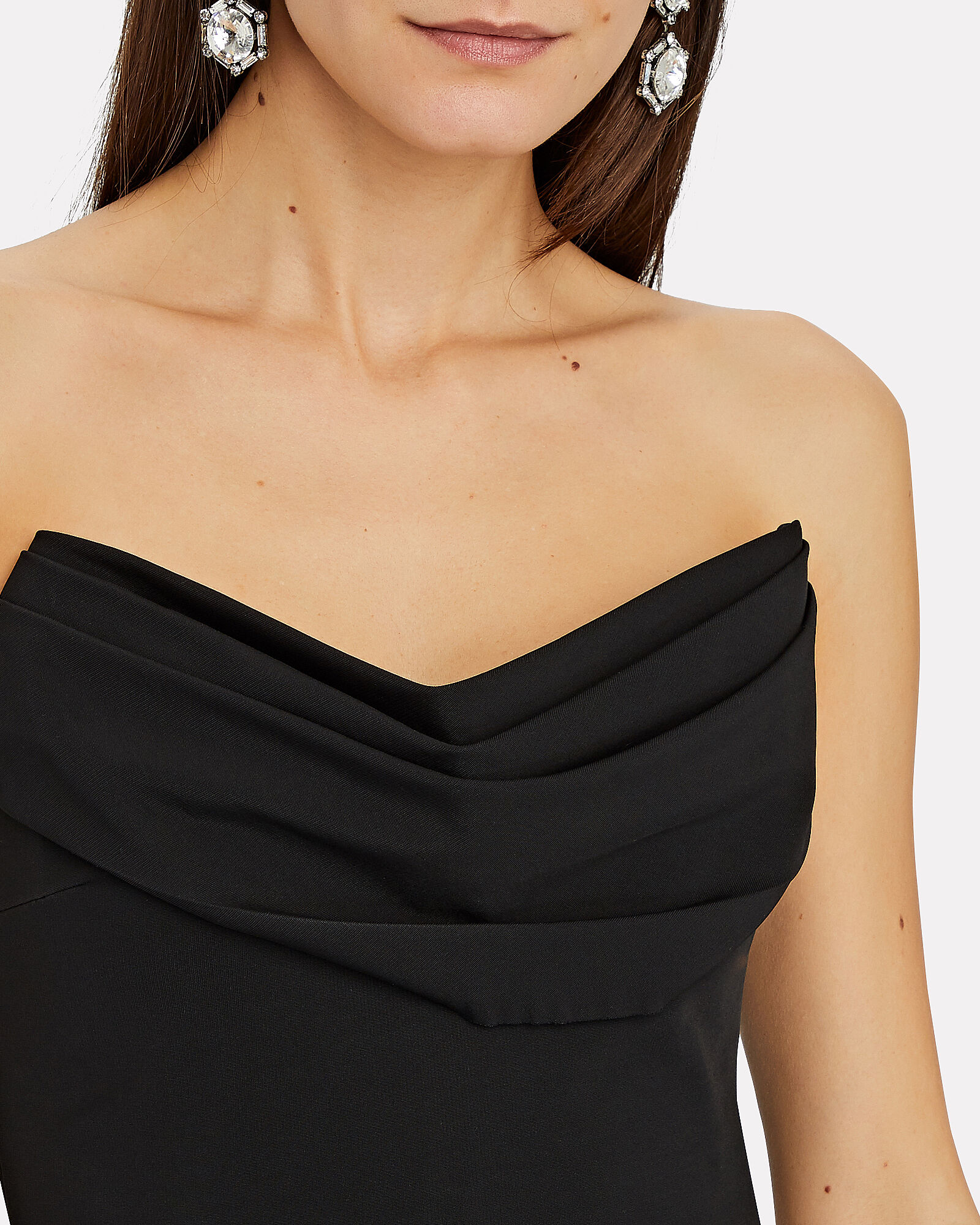 Strapless Draped Corset Top, BLACK, hi-res