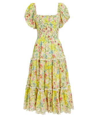 Masie Floral Silk-Cotton Midi Dress, MULTI, hi-res
