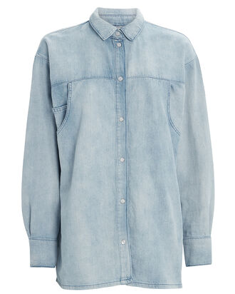 Sissela Denim Button Down Shirt, DENIM-LT, hi-res