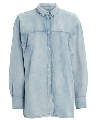 Sissela Denim Button Down Shirt, LIGHT WASH DENIM, hi-res