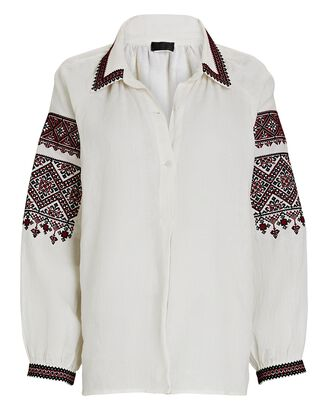 Jill Embroidered Linen Blouse, IVORY, hi-res
