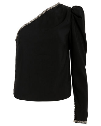 One-Shoulder Crepe Diamante Top, BLACK, hi-res