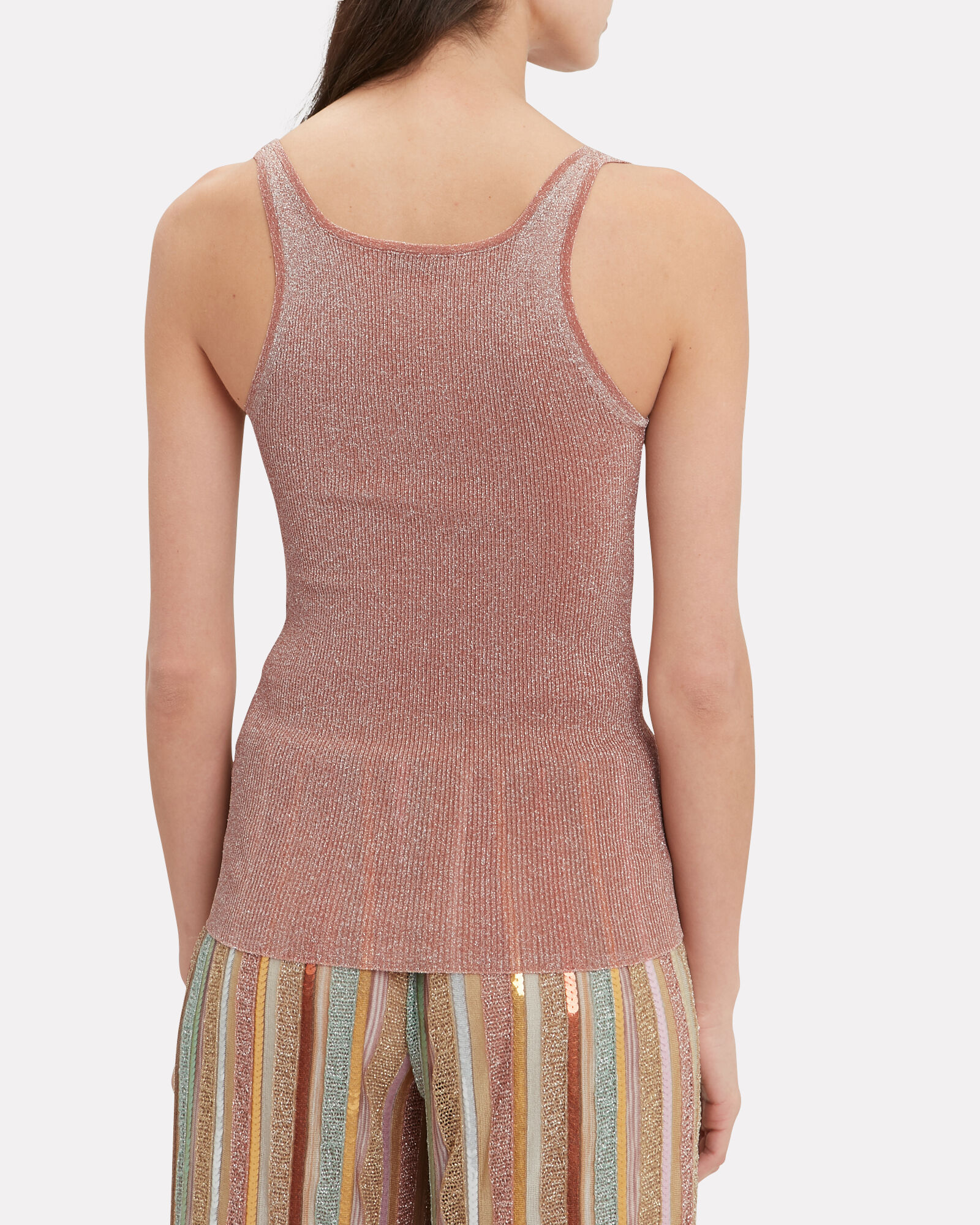 Blush Metallic Jersey Tank, BLUSH, hi-res