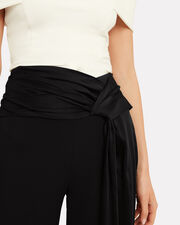 Fluid Satin Wrap Cropped Pants, BLACK, hi-res