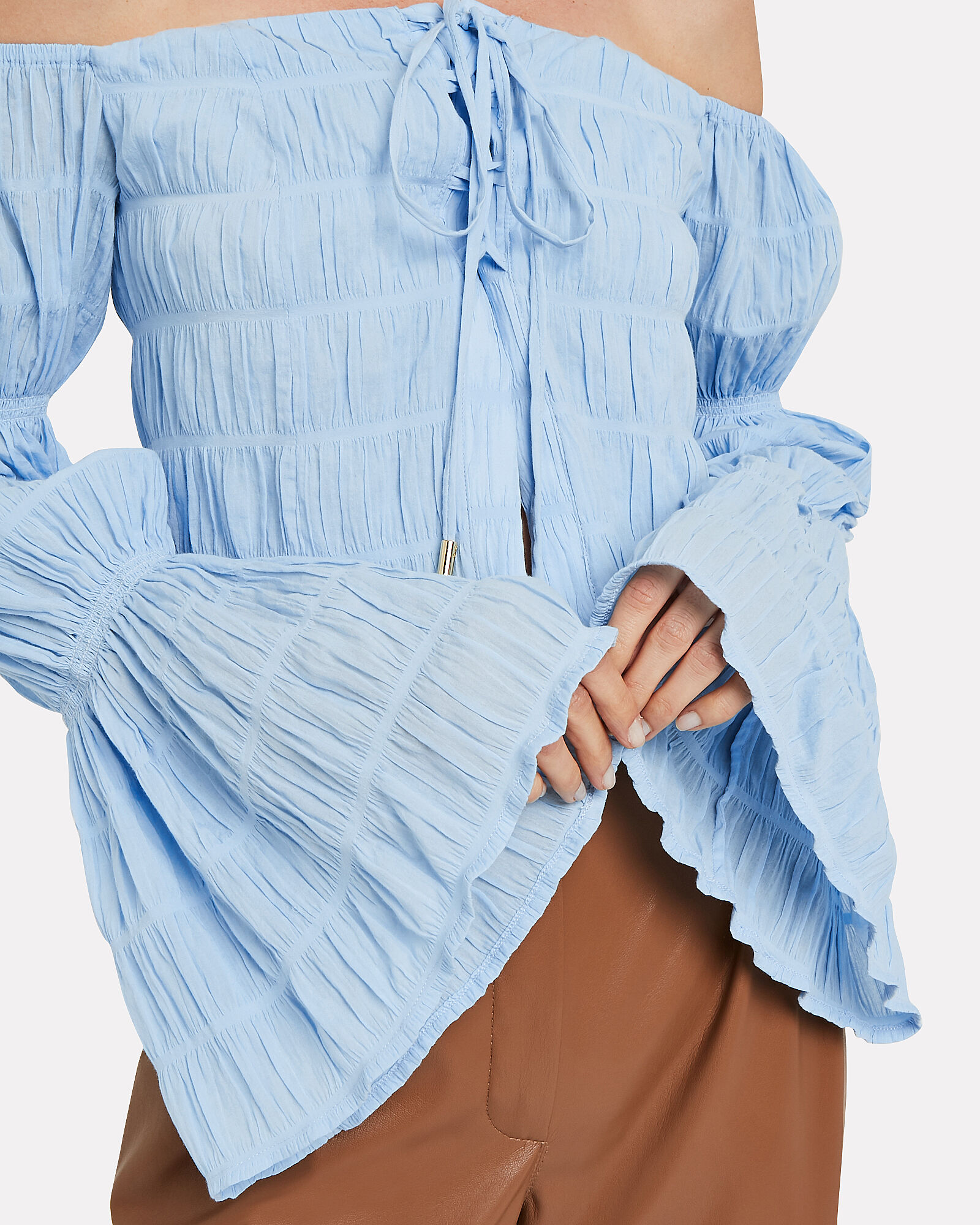 Claire Gathered Puff Sleeve Blouse, PERIWINKLE, hi-res
