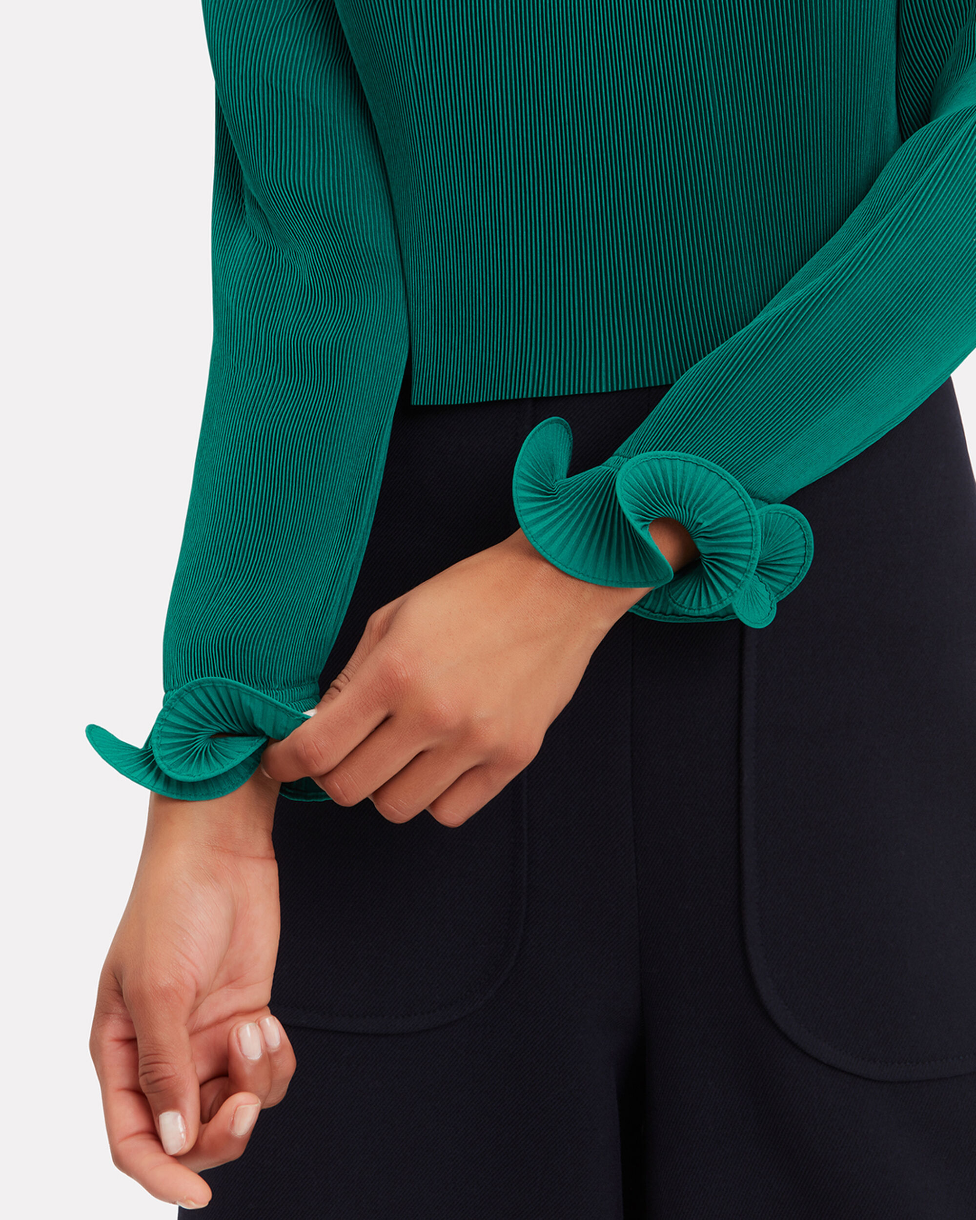 Green Pleated Crop Top, GREEN, hi-res