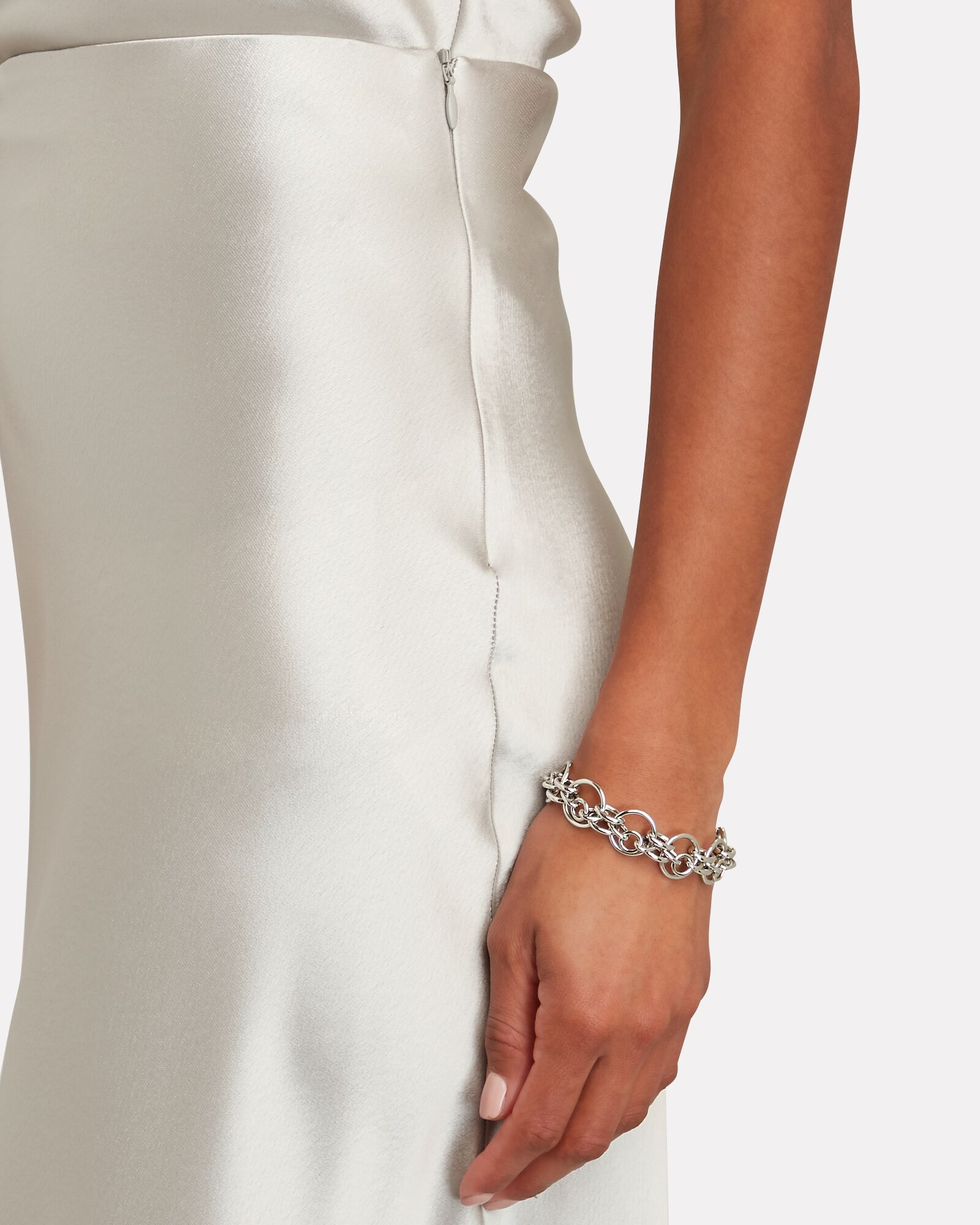 Valletta Satin Midi Skirt, SILVER, hi-res