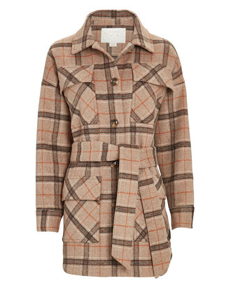 Renee Belted Plaid Shirt Jacket, BEIGE/GREY, hi-res
