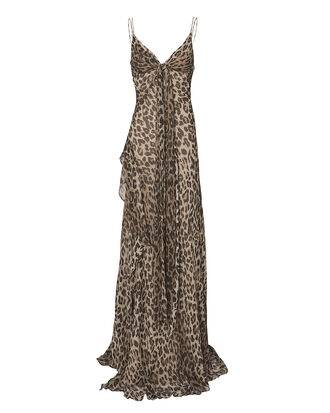 Leopard Tie Front Maxi Dress, MULTI, hi-res