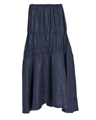 Susanna Denim Linen Shirred Midi Skirt, DENIM, hi-res