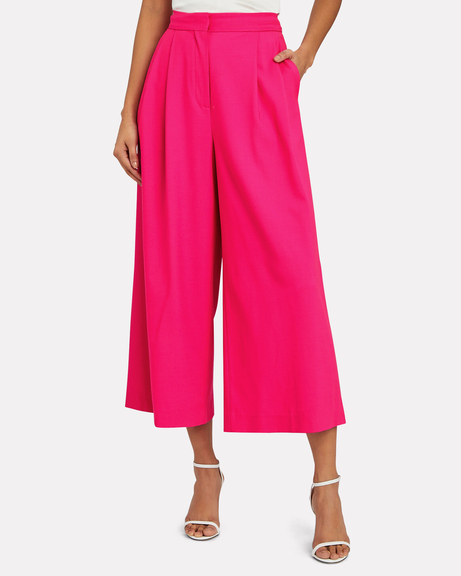 High-Rise Pleated Wool Culottes, PINK-DRK, hi-res