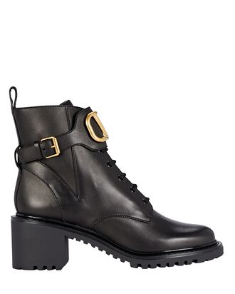 VLogo Leather Combat Boots, BLACK, hi-res