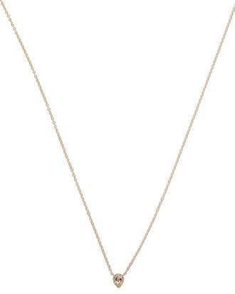 White Topaz Teardrop Necklace, GOLD, hi-res