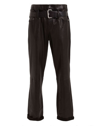 Dexter Straight Leg Leather Pants, BLACK, hi-res