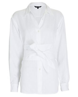 Dallas Belted Linen Button-Down Shirt, WHITE, hi-res