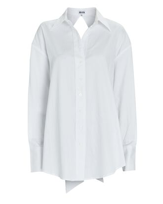 Mel Open Back Poplin Shirt, WHITE, hi-res