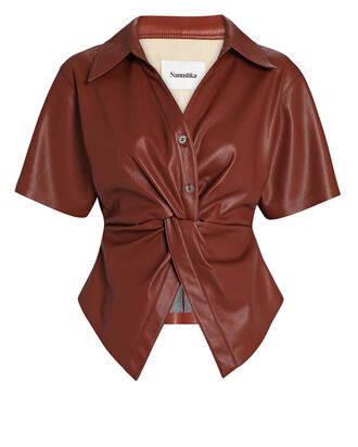 Twisted Vegan Leather Shirt, BURGUNDY, hi-res