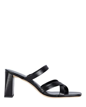 Lenny Leather Slide Sandals, BLACK, hi-res