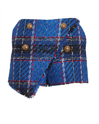 Asymmetrical Tartan Tweed Shorts, BLUE, hi-res