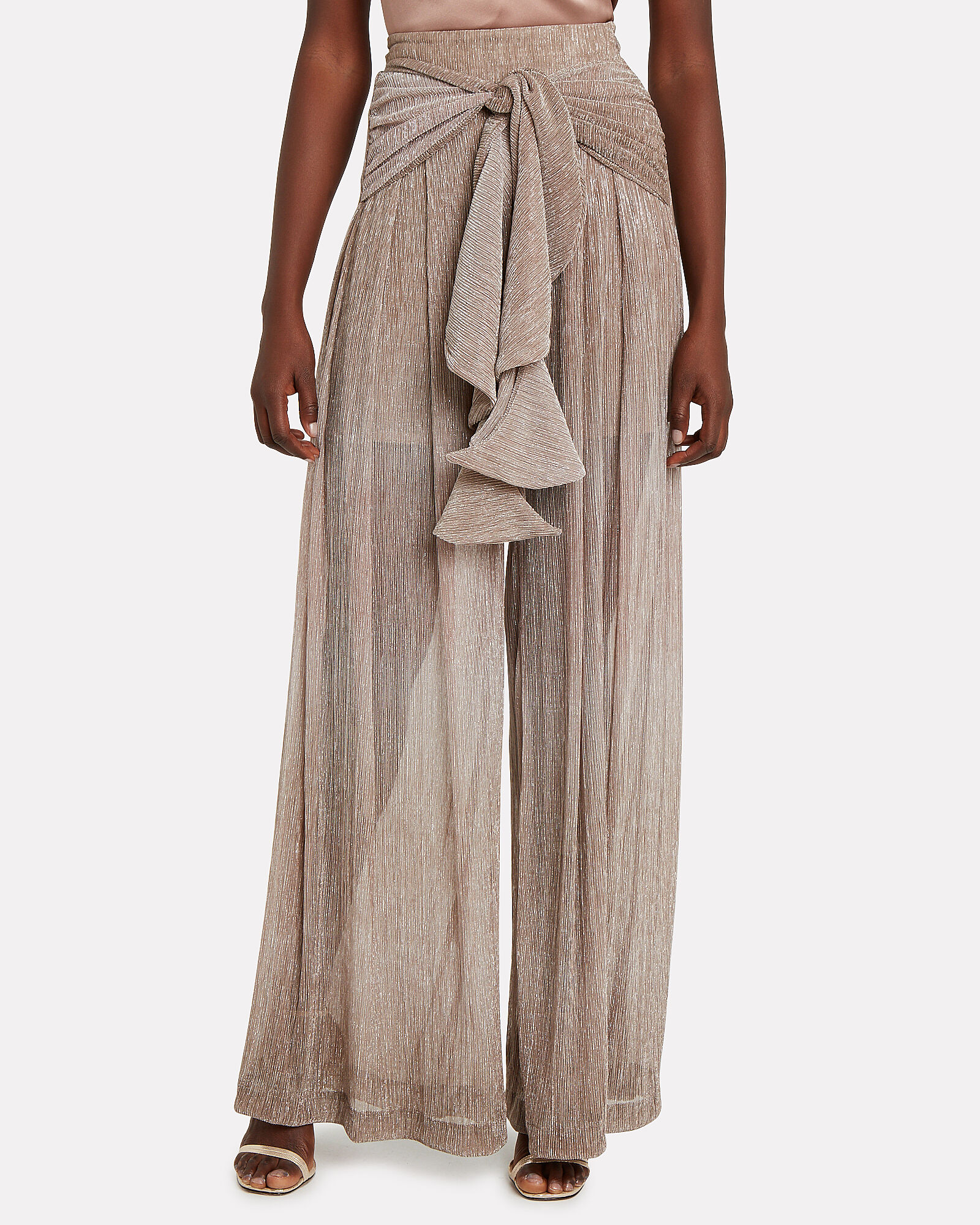 Draped Ombré Wide Leg Pants, GOLD, hi-res