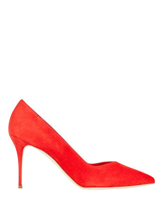 Eris Brushed Suede Pumps, RED, hi-res