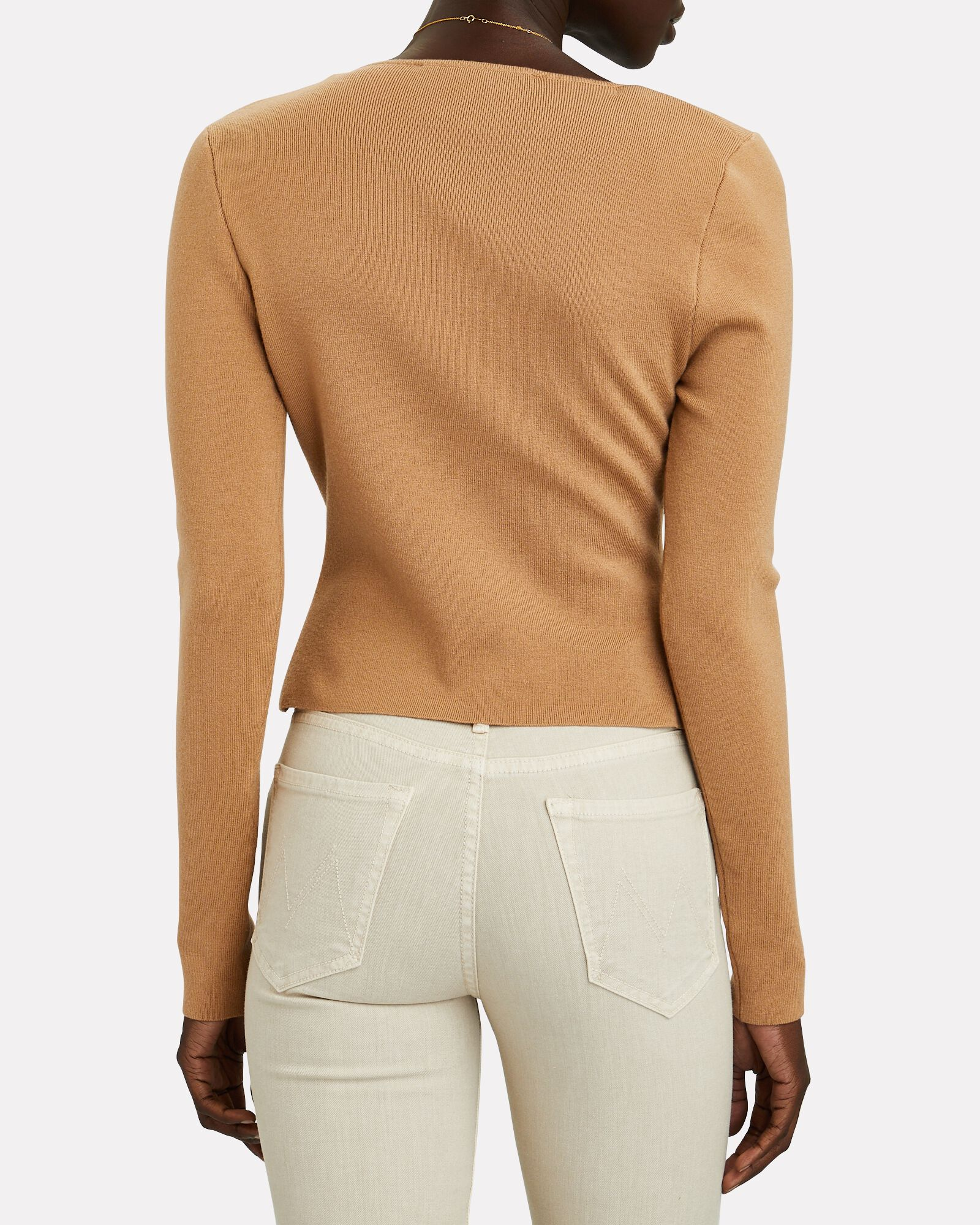 Asymmetrical V-Neck Sweater, BEIGE, hi-res