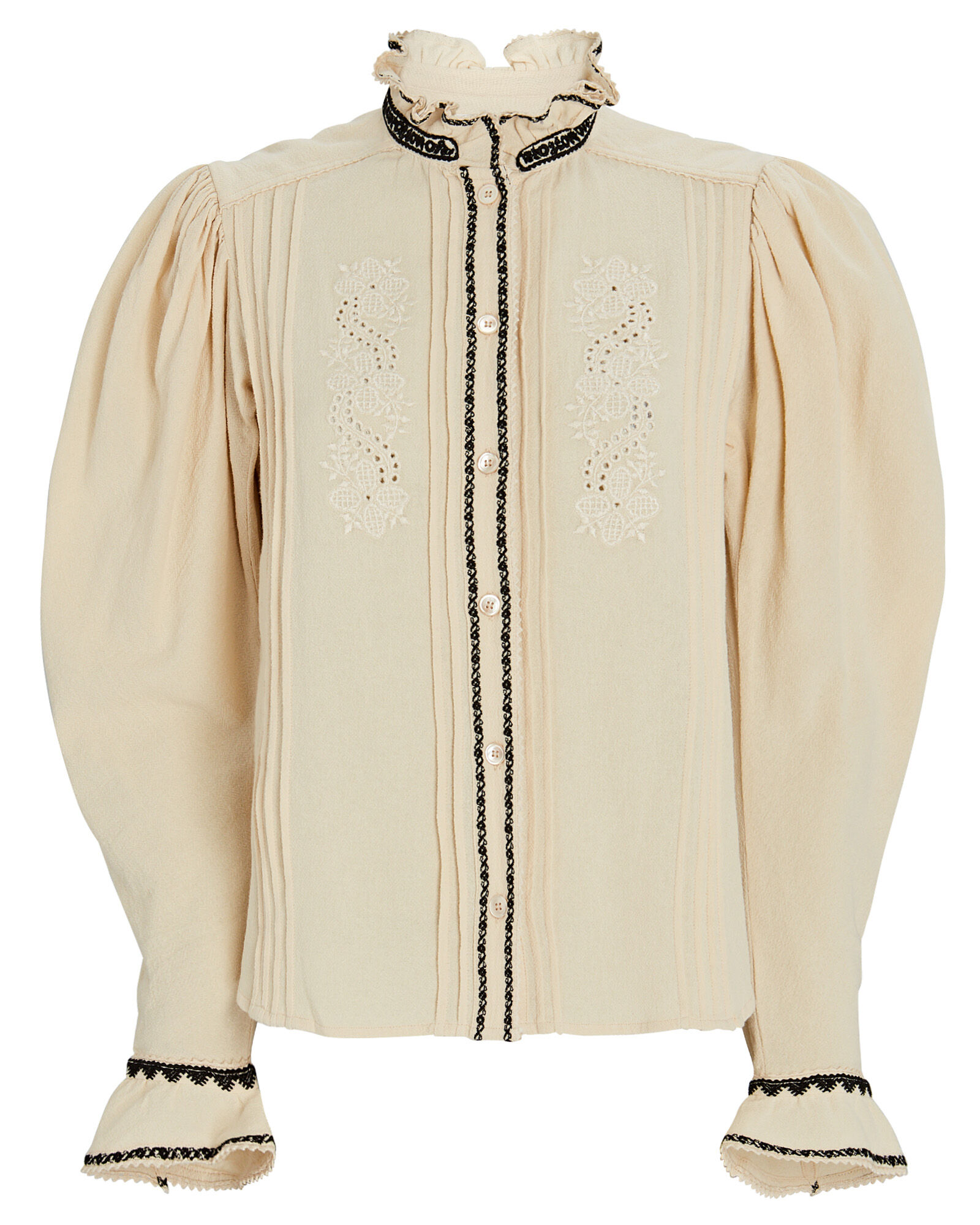 Rosie Embroidered Cotton Blouse, BEIGE, hi-res