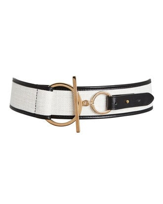 Canvas Corset Waist Belt, WHITE/BLACK, hi-res