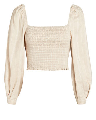 Smocked Puff Sleeve Top, BEIGE, hi-res