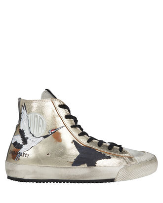 Francy High-Top Painted Star Sneakers, GOLD/BLACK, hi-res