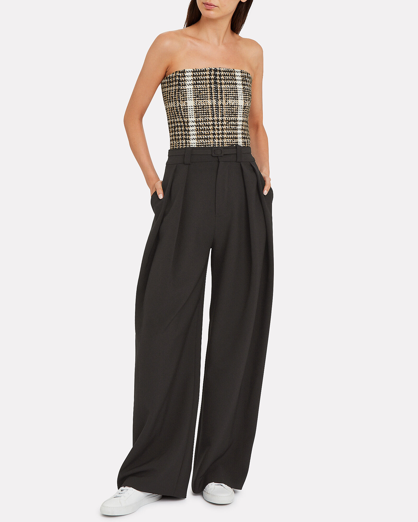 Pleated Wide Leg Trousers, BLACK, hi-res