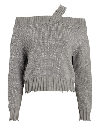 Beckett Sequined Cotton Sweater, GREY, hi-res