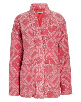 Kerry Quilted Bandana Jacket, RED, hi-res