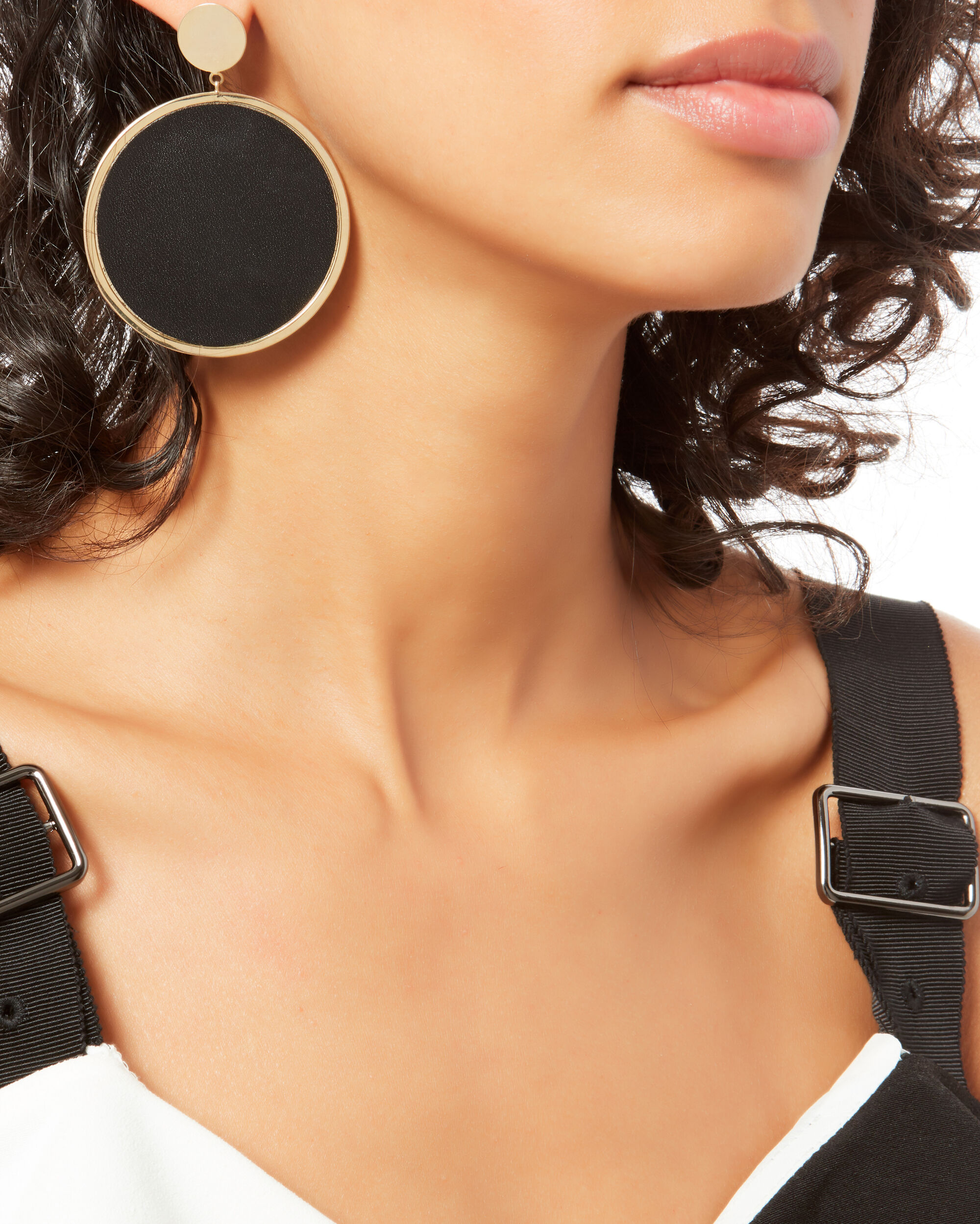 Large Leather Pendant Earrings, GOLD, hi-res