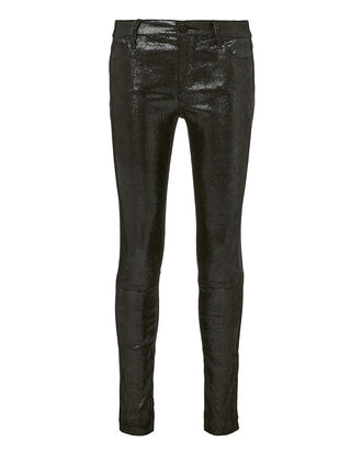 Metallic Skinny Leather Pants, SILVER, hi-res