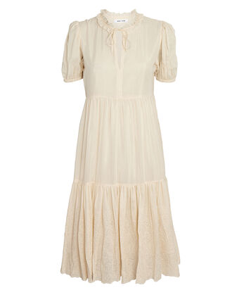 Melinda Puff Sleeve Silk-Cotton Dress, IVORY, hi-res