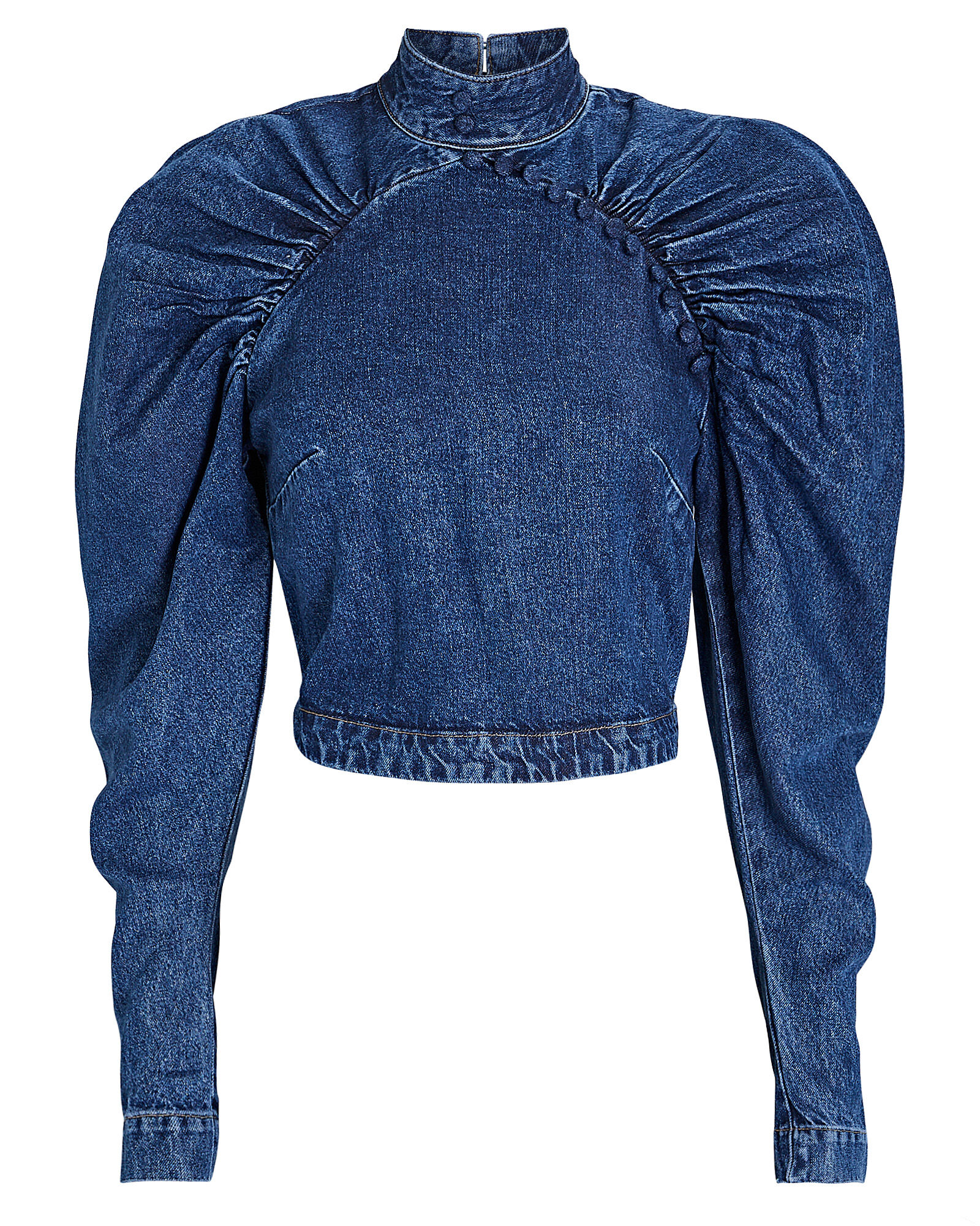 Kim Ruched Chambray Top, BLUE-MED, hi-res